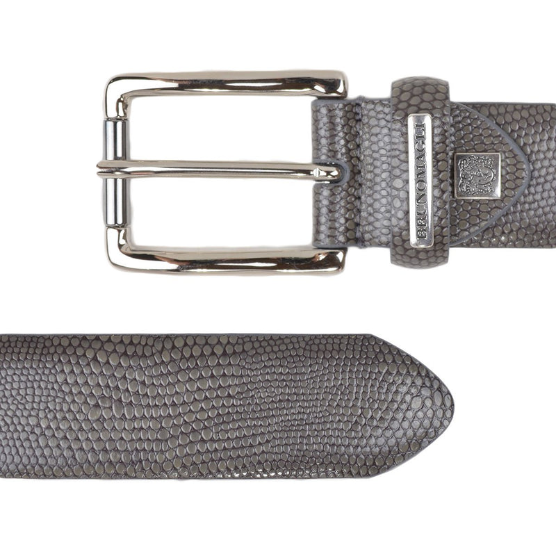 Textured Leather Men's Belt - Grey Snake-Print Leather
