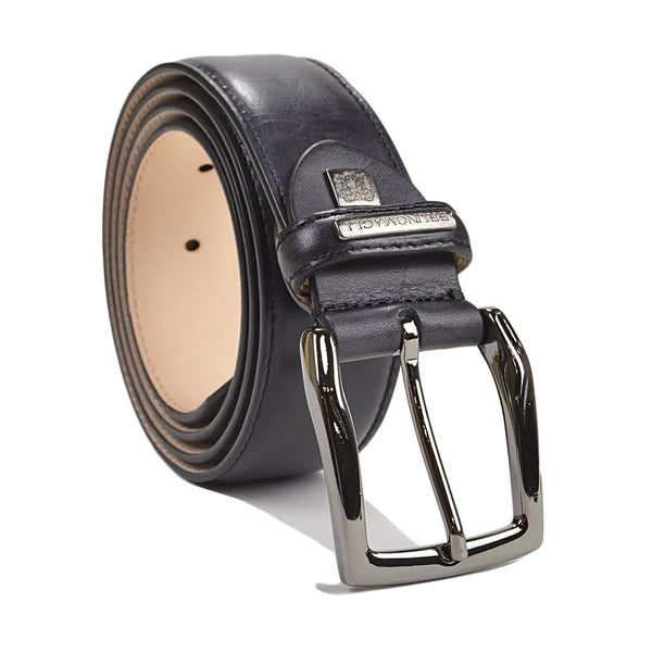 Burnished Leather Men's Belt - Black