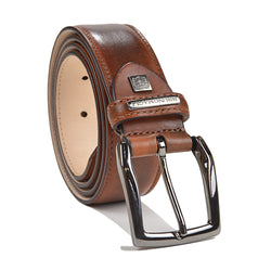 Burnished Leather Men's Belt - Cognac