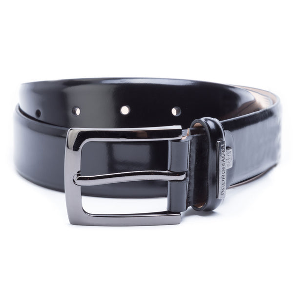 Men's Leather Belt with Crest - Black