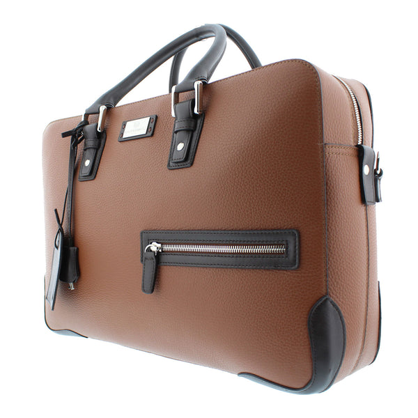 Bicolor Briefcase/Computer Bag - Brown