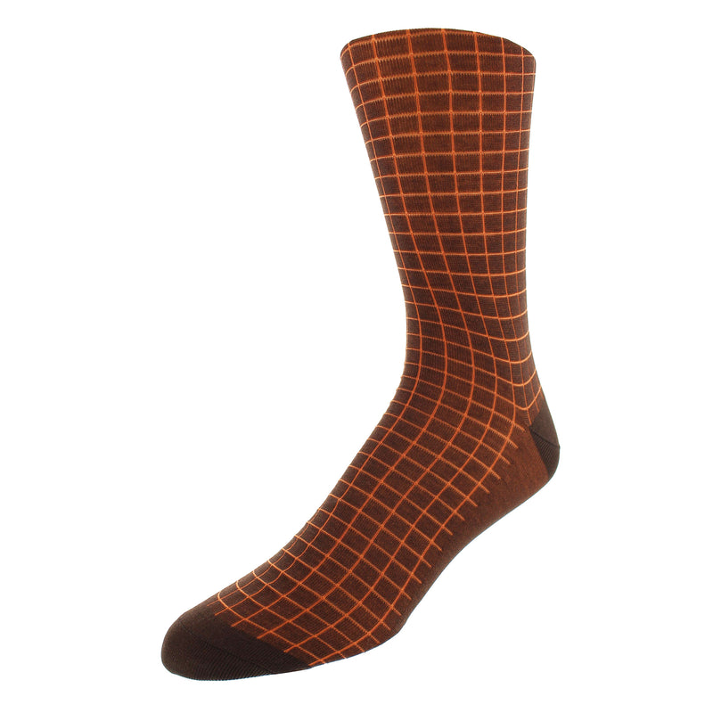 Men's Windowpane Check Graphic Dress Socks - Brown