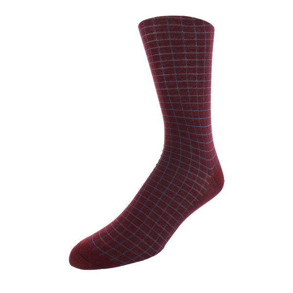 Windowpane Check Dress Socks