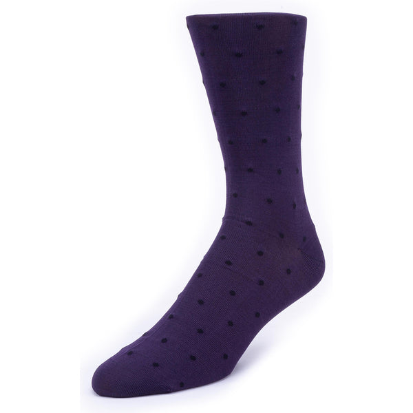 Men's Dot Patterned Graphic Dress Socks - Purple