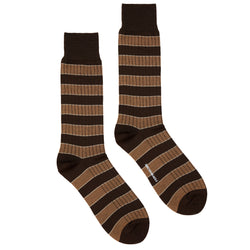 Men's Striped Ribbed Dress Socks - Brown