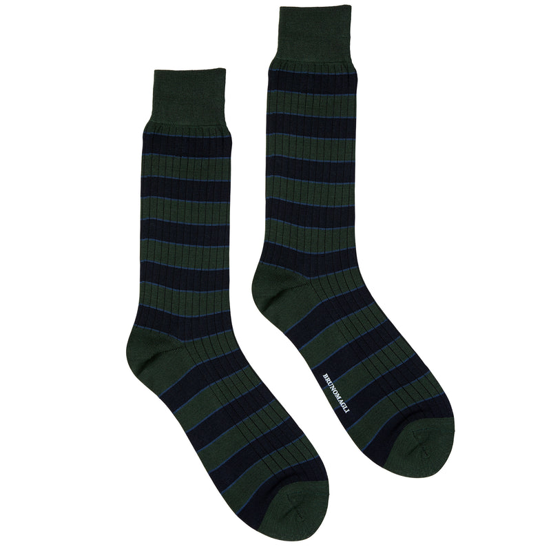 Men's Striped Ribbed Dress Socks - Green
