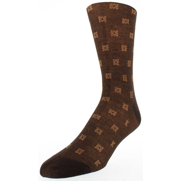 Men's Patterned Dress Socks - Brown