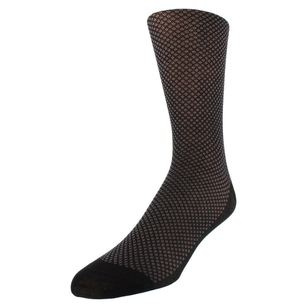 Bird's-eye Pattern Dress Socks - Black