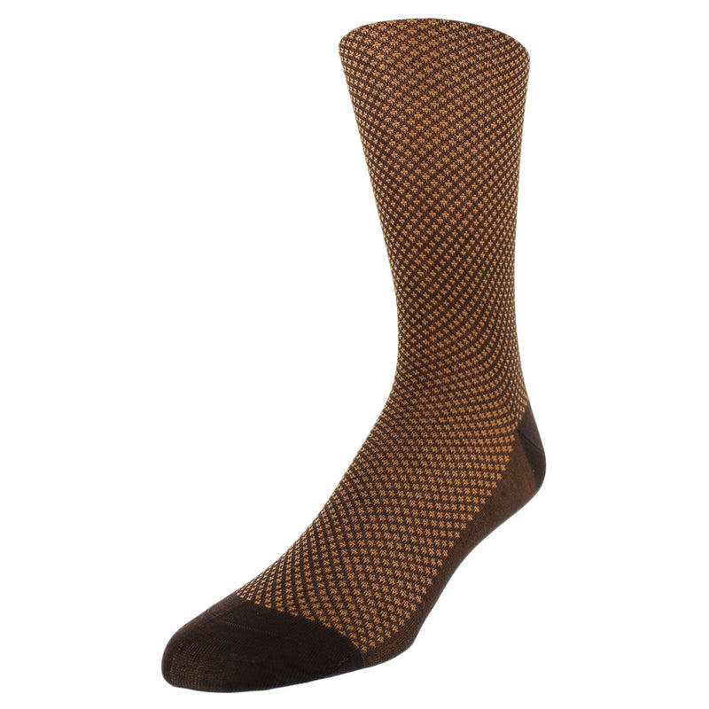 Bird's-eye Pattern Dress Socks - Brown