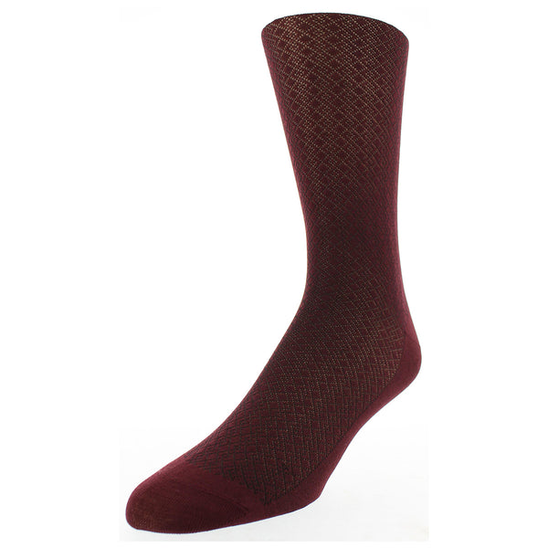 Crisscross Diamond Dress Socks - Wine