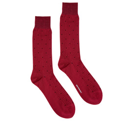 Men's Dot Patterned Ribbed Dress Socks - Wine