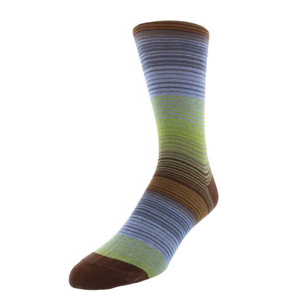 Multi-Stripe Patterned Graphic Men's Dress Socks - Brown