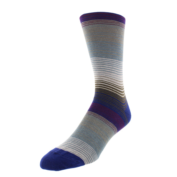 Multi-Stripe Patterned Graphic Men's Dress Socks - Royal