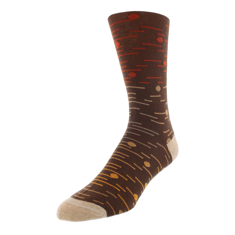 Men's Dot and Line Print Graphic Dress Socks - Brown