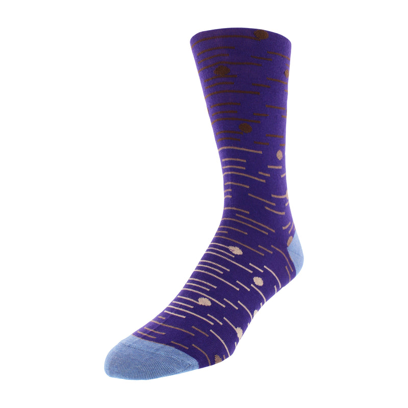Men's Dot and Line Print Graphic Dress Socks - Purple