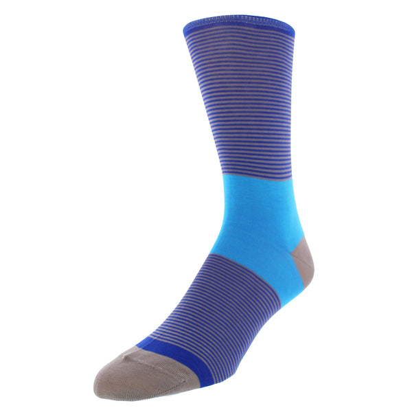 Stripe-and-Block Dress Socks - Blue