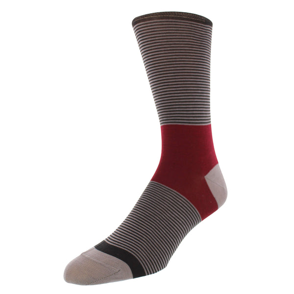 Stripe-and-Block Dress Socks - Charcoal