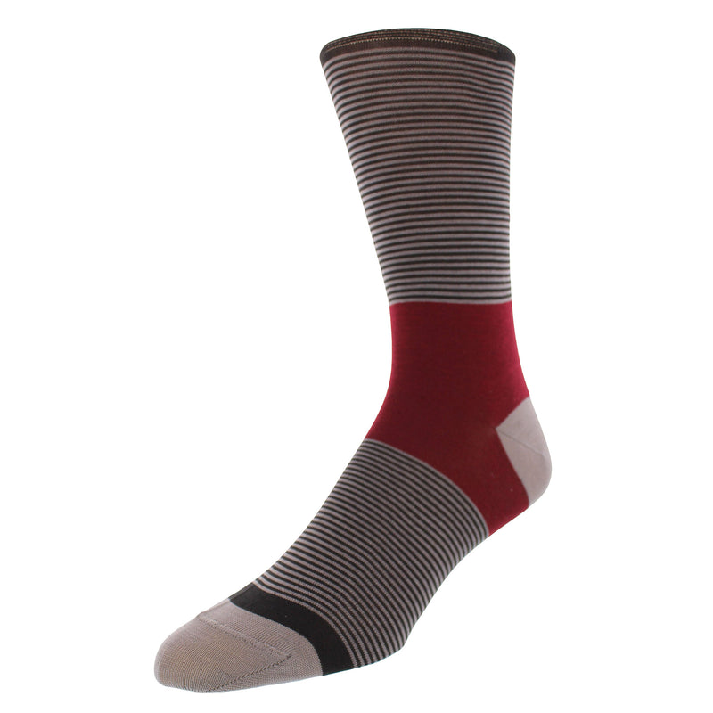 Color Block Stripe Graphic Men's Dress Socks - Charcoal