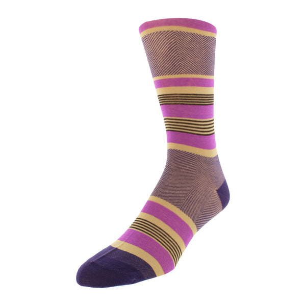 Stripe & Herringbone Graphic Men's Dress Socks - Purple - FINAL SALE