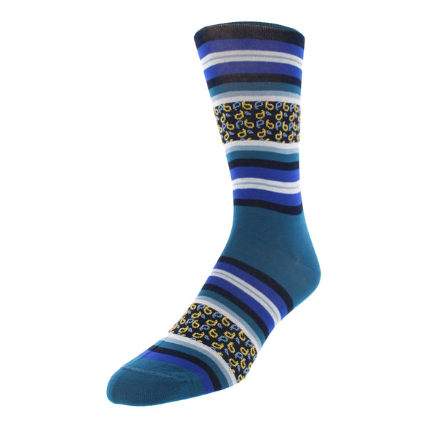Men's Striped Graphic Dress Socks - Blue