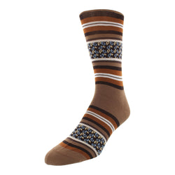 Men's Striped Graphic Dress Socks - Brown