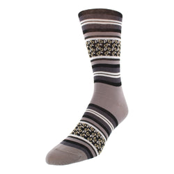 Men's Striped Graphic Dress Socks - Grey