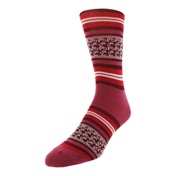 Men's Striped Graphic Dress Socks - Wine