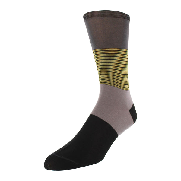 Color Block Stripe Graphic Men's Dress Socks - Charcoal - FINAL SALE
