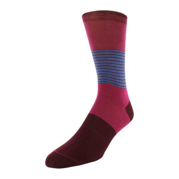 Color Block Stripe Graphic Men's Dress Socks - Wine - FINAL SALE