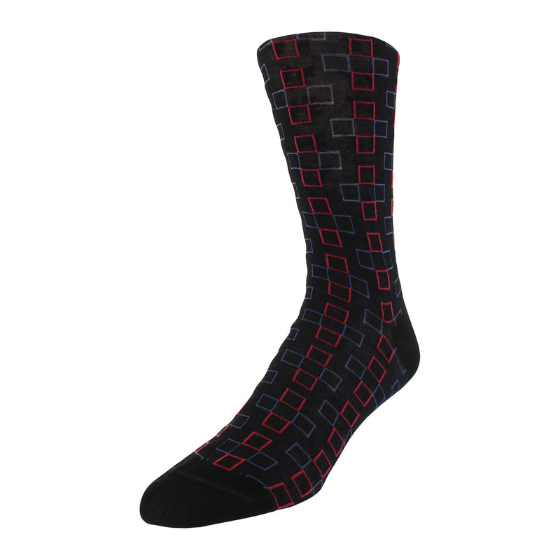 Men's Square Graphic Patterned Dress Socks - Black