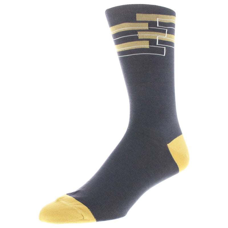 Men's Geo Patterned Graphic Dress Socks - Charcoal