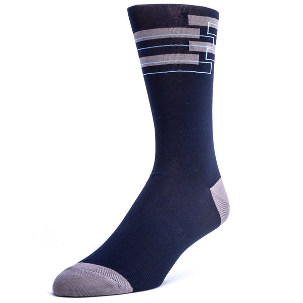 Men's Geo Patterned Graphic Dress Socks - Navy