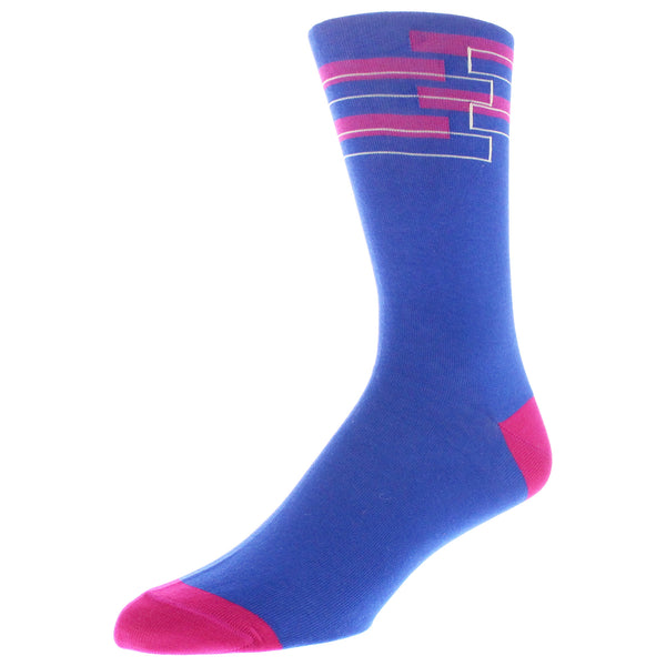 Men's Geo Patterned Graphic Dress Socks - Royal