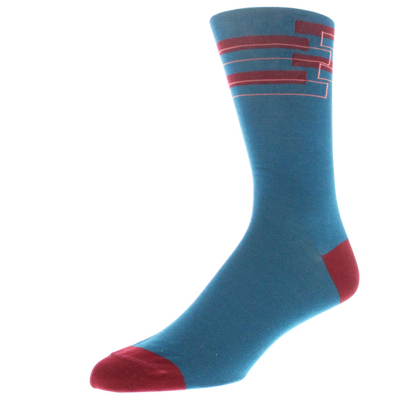 Men's Geo Patterned Graphic Dress Socks - Teal