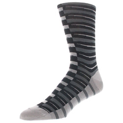 Stripe Patterned Graphic Men's Dress Socks - Charcoal