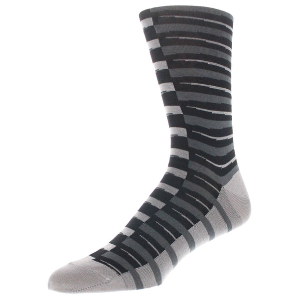 Striped Dress Socks - Charcoal