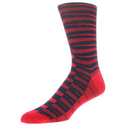 Stripe Patterned Graphic Men's Dress Socks - Red - FINAL SALE