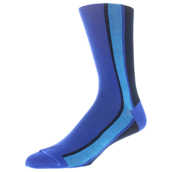 Men's Colorblock Stripe Graphic Dress Socks - Blue