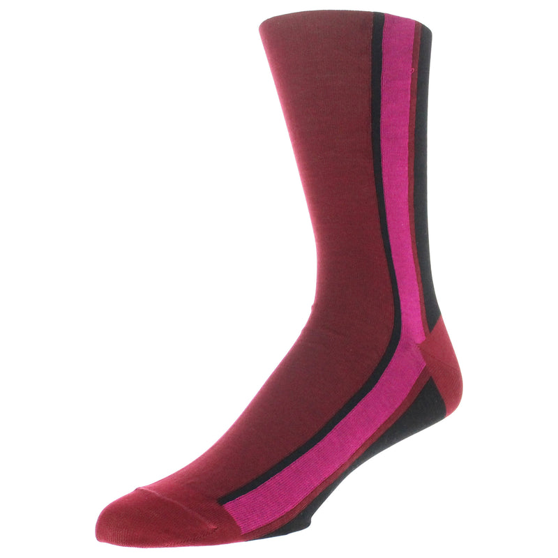 Men's Colorblock Stripe Graphic Dress Socks - Wine