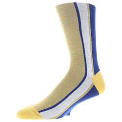 Men's Colorblock Stripe Graphic Dress Socks - Yellow