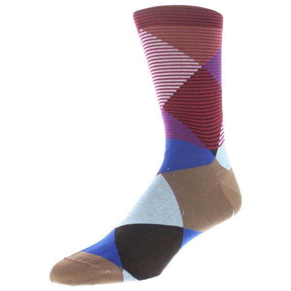 Men's Modern Argyle Graphic Dress Socks - Dark Red