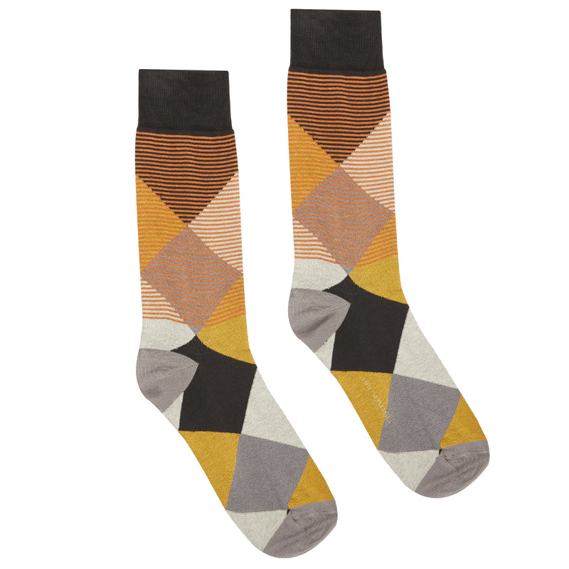 Men's Modern Argyle Graphic Dress Socks - Orange