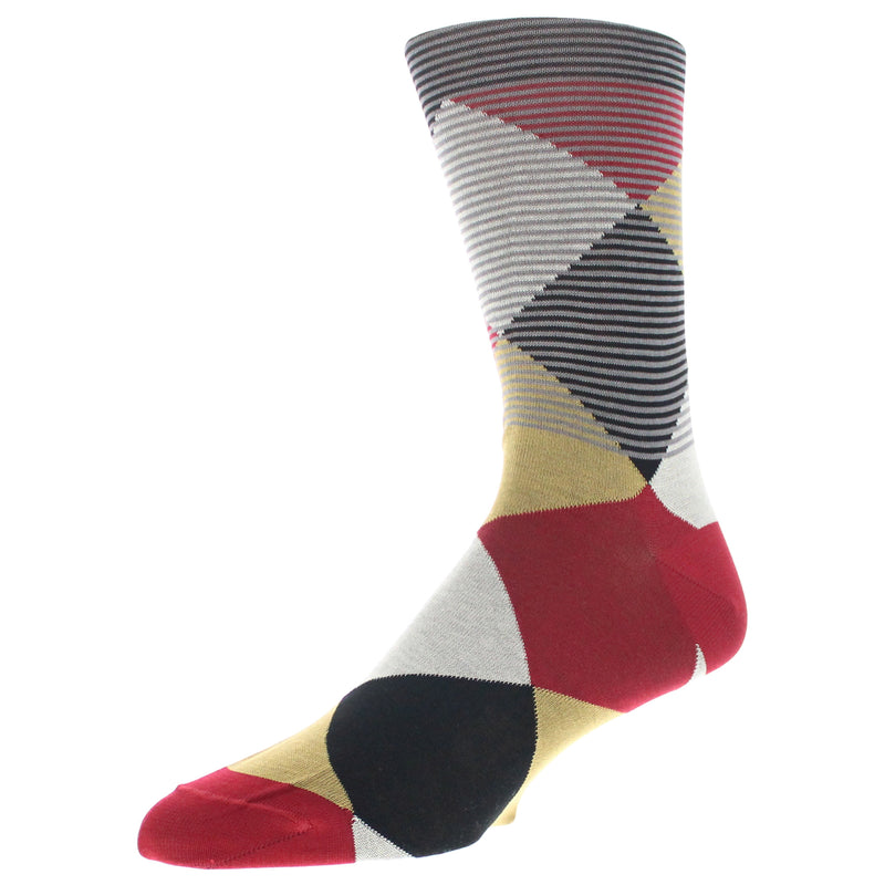 Men's Modern Argyle Graphic Dress Socks - Red