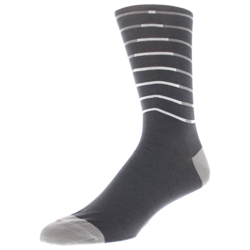 Men's Graphic Stripe Dress Socks - Charcoal