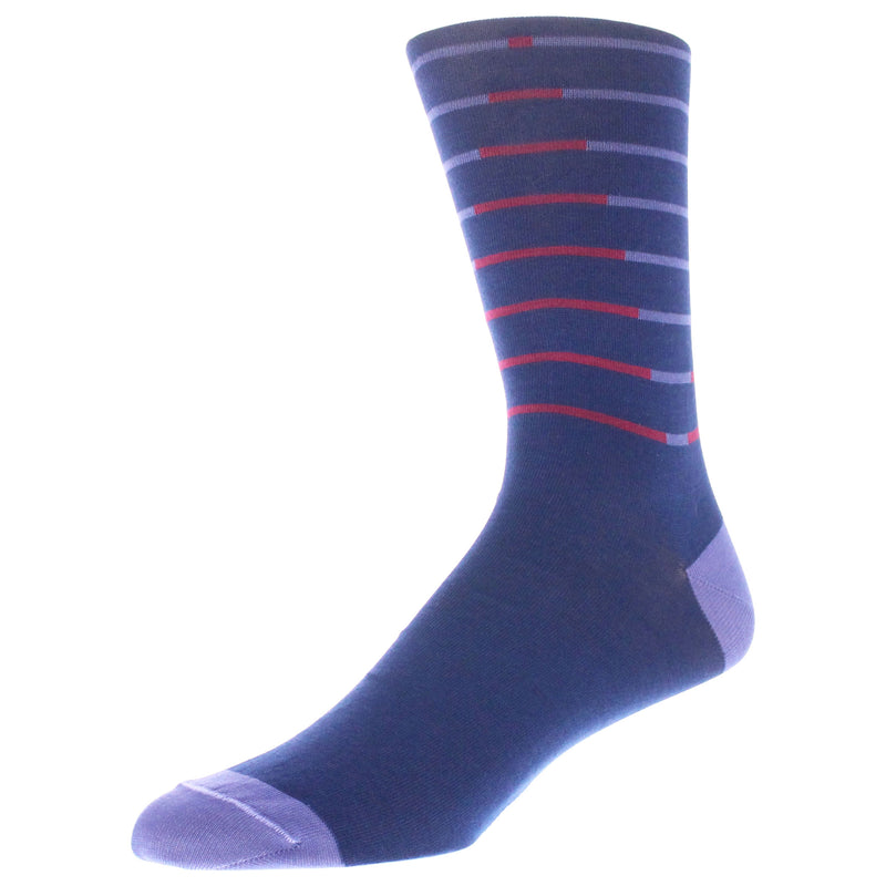 Stripe Patterned Graphic Men's Dress Socks - Blue