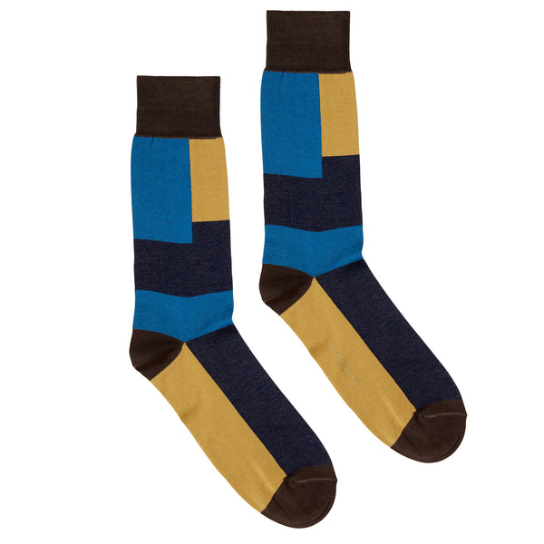 Men's Colorblocked Graphic Dress Socks - Brown