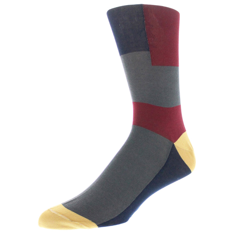 Men's Colorblocked Graphic Dress Socks - Charcoal