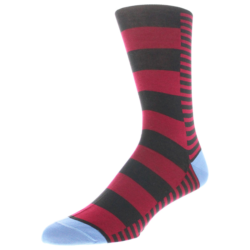 Men's Mixed Stripe Patterned Dress Socks - Red