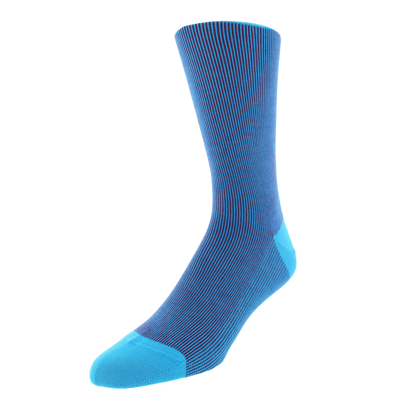 Striped Patterned Graphic Men's Dress Socks - Turquoise