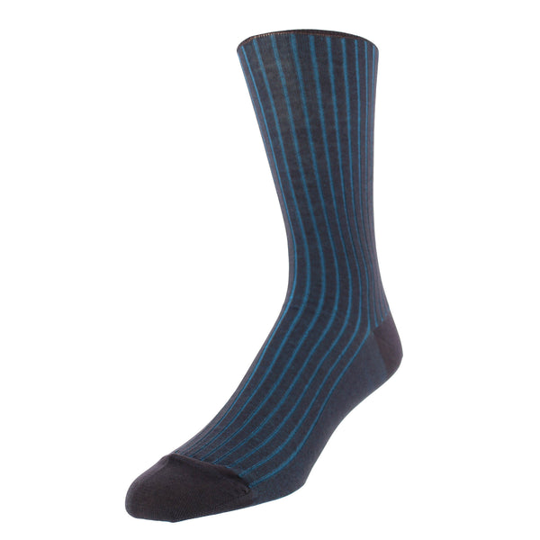 Vertical Stripe Patterned Graphic Men's Dress Socks - Charcoal
